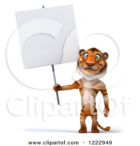 Clipart of a 3d Tiger Mascot Standing and Holding a Sign - Royalty Free Illustration by Julos