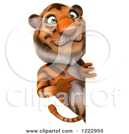 Clipart of a 3d Tiger Mascot Looking Around and Pointing to a Sign - Royalty Free Illustration by Julos