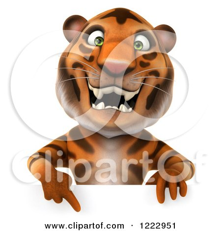 Clipart of a 3d Tiger Mascot Pointing down to a Sign - Royalty Free Illustration by Julos