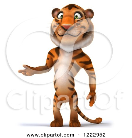 Clipart of a 3d Tiger Mascot Standing and Presenting - Royalty Free Illustration by Julos