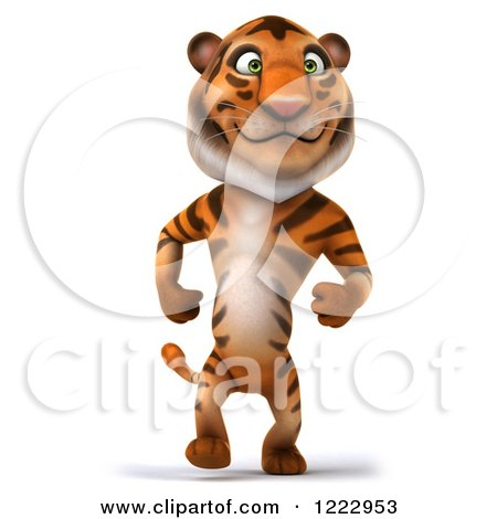 Clipart of a 3d Tiger Mascot Walking Upright - Royalty Free Illustration by Julos