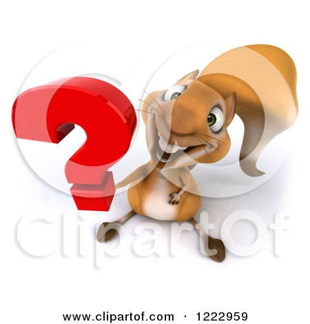 Clipart of a 3d Squirrel Holding up a Question Mark - Royalty Free Illustration by Julos
