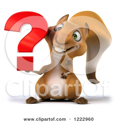 Clipart of a 3d Squirrel Holding a Question Mark - Royalty Free Illustration by Julos
