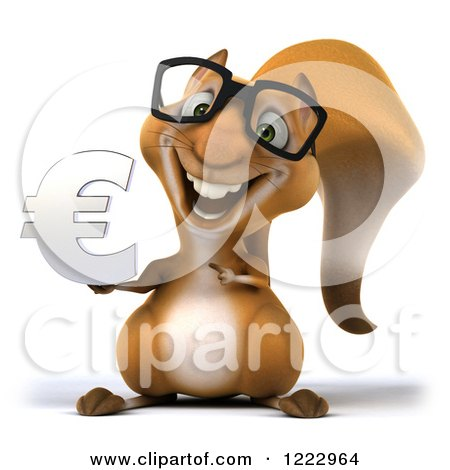 Clipart of a 3d Squirrel Wearing Glasses and Holding a Euro Symbol - Royalty Free Illustration by Julos