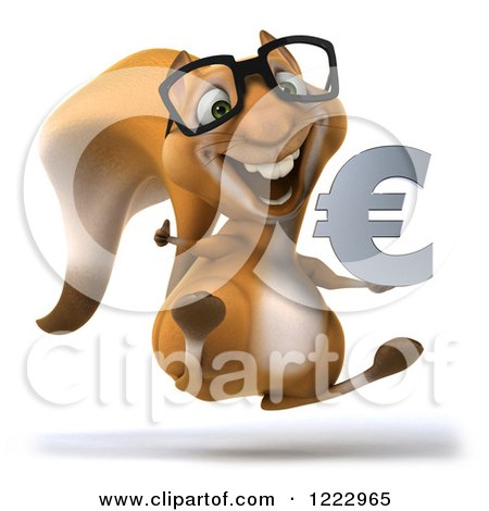 Clipart of a 3d Squirrel Wearing Glasses Holding a Thumb up and Jumping with a Euro Symbol - Royalty Free Illustration by Julos