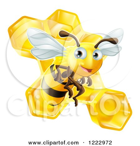 Clipart of a Cute Bee over Honeycombs - Royalty Free Vector Illustration by AtStockIllustration