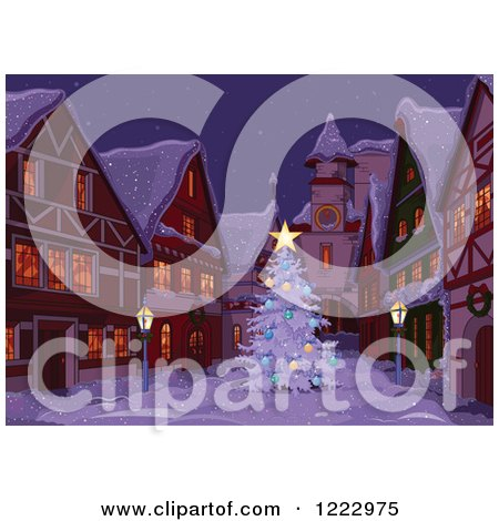 Clipart of a Christmas Tree in a Village Alley on a Winter Night - Royalty Free Vector Illustration by Pushkin
