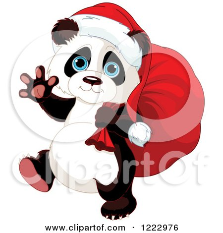 Clipart of a Cute Christmas Panda Carrying Santas Sack and Waving - Royalty Free Vector Illustration by Pushkin