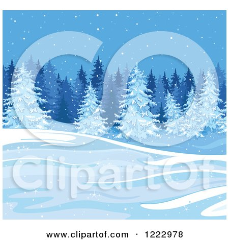 Clipart of a Winter Landscape with Evergreen Trees and Snow - Royalty Free Vector Illustration by Pushkin