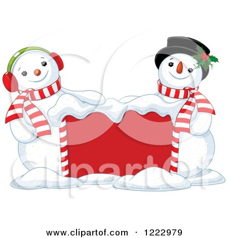Clipart of a Red Sign with Happy Snowmen - Royalty Free Vector Illustration by Pushkin