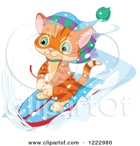 Clipart of a Cute Ginger Kitten Riding on a Boogie Board in the Snow - Royalty Free Vector Illustration by Pushkin