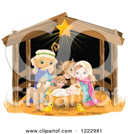 Star Shining on Baby Jesus Surrounded by Mary Joseph and Cute Animals in a Manger Posters, Art Prints