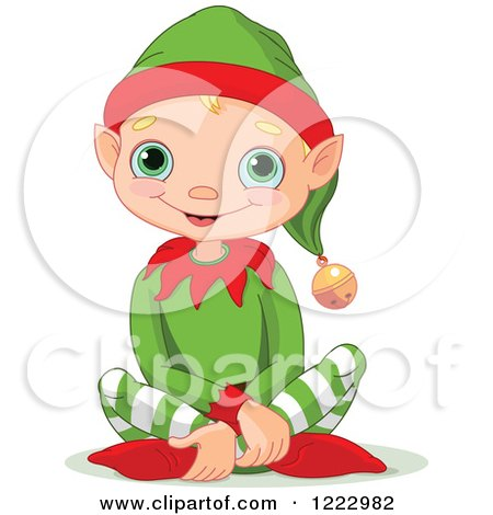 Clipart of a Cute Happy Male Christmas Elf Sitting on the Floor - Royalty Free Vector Illustration by Pushkin