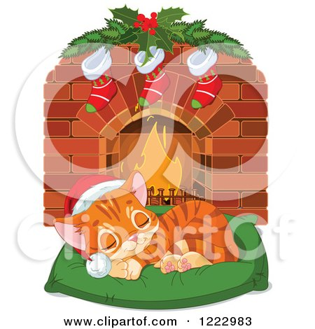 Clipart of a Cute Ginger Kitten Sleeping on a Pillow in Front of a Fireplace with Christmas Stockings - Royalty Free Vector Illustration by Pushkin