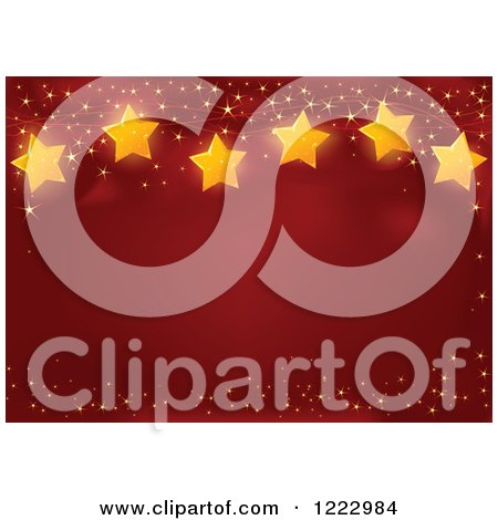 Clipart of a Red Christmas Background with Text Space Golden Sparkles and Stars - Royalty Free Vector Illustration by Pushkin
