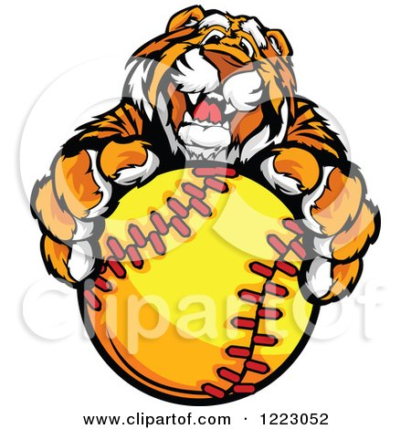 Clipart of a Friendly Tiger Mascot Holding out a Softball - Royalty Free Vector Illustration by Chromaco