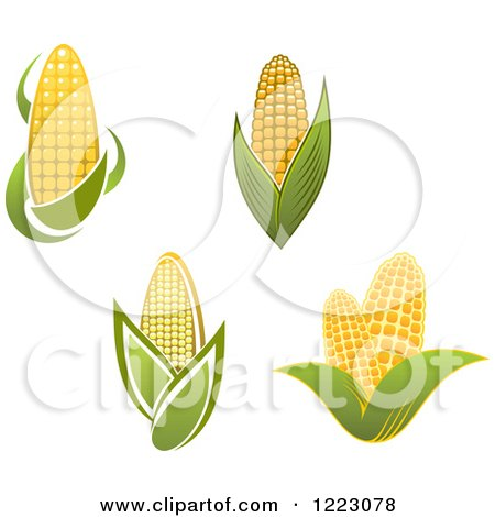 Clipart of Golden Ears of Corn and Leaves - Royalty Free Vector Illustration by Vector Tradition SM