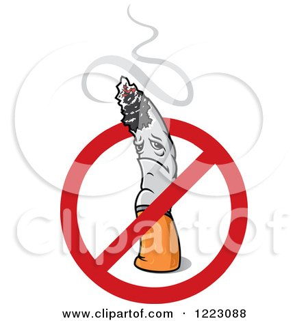 Sad Cigarette Character with Smoke and a Restricted Symbol Posters, Art Prints