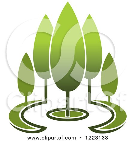 Clipart of a Landscape with Green Trees 9 - Royalty Free Vector Illustration by Vector Tradition SM