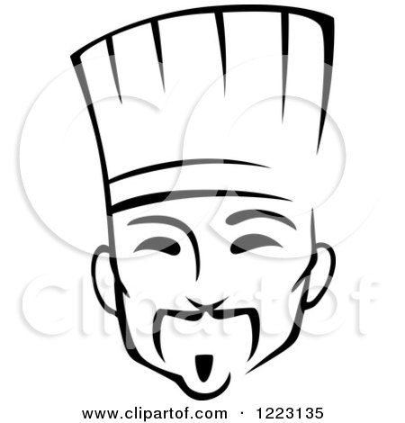 Clipart of a Black and White Male Asian Chef - Royalty Free Vector Illustration by Vector Tradition SM