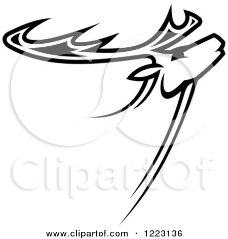 Clipart of a Black and White Deer or Moose with Antlers - Royalty Free Vector Illustration by Vector Tradition SM