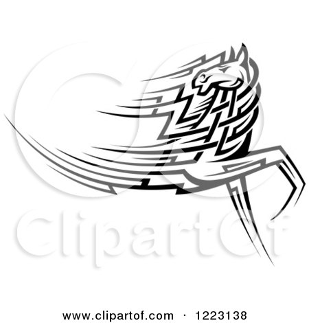 Clipart of a Running Black and White Tribal Horse Looking Back - Royalty Free Vector Illustration by Vector Tradition SM