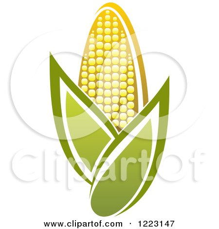 Clipart of a Golden Ear of Corn and Leaves 3 - Royalty Free Vector Illustration by Vector Tradition SM