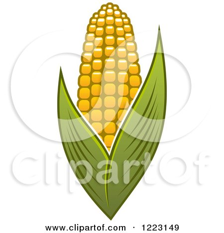 Clipart of a Golden Ear of Corn and Leaves 2 - Royalty Free Vector Illustration by Vector Tradition SM