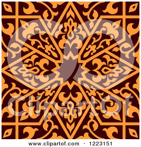 Clipart of a Seamless Brown and Orange Arabic or Islamic Design 2 - Royalty Free Vector Illustration by Vector Tradition SM