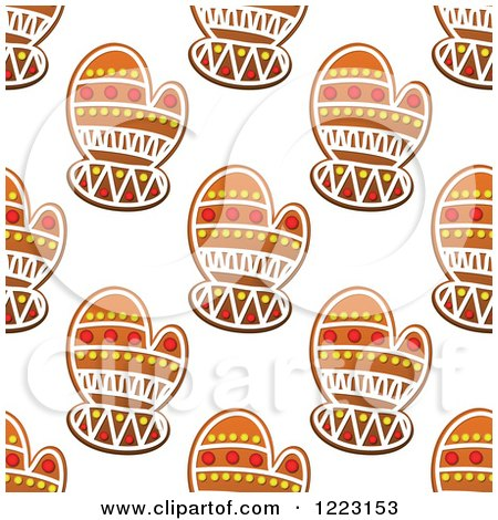 Clipart of a Seamless Background Pattern of Mitten Shaped Christmas Gingerbread Cookies - Royalty Free Vector Illustration by Vector Tradition SM