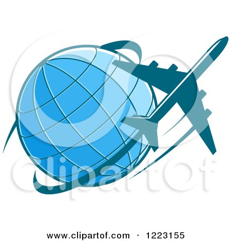 Clipart of a Blue Airplane Flying Around a Globe - Royalty Free Vector Illustration by Vector Tradition SM
