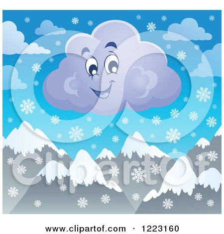Clipart of a Happy Winter Cloud with Snowflakes over Mountains - Royalty Free Vector Illustration by visekart