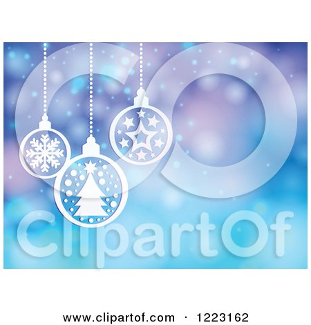 Clipart of a Purple and Blue Flare Background with Suspended White Christmas Baubles - Royalty Free Vector Illustration by visekart