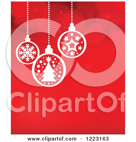 Clipart of a Red Flare Background with Suspended White Christmas Baubles - Royalty Free Vector Illustration by visekart