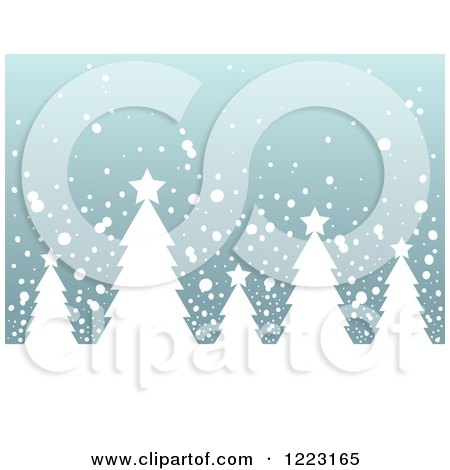 Clipart of a Background of Evergreen Christmas Trees in the Snow - Royalty Free Vector Illustration by visekart
