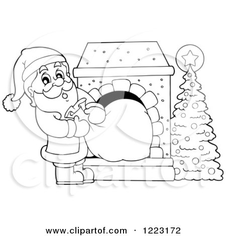 Clipart of an Outlined Santa Claus Pulling a Sack Through a Fireplace - Royalty Free Vector Illustration by visekart