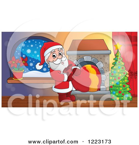 Clipart of Santa Claus Pulling a Sack Through a Fireplace in a Living Room - Royalty Free Vector Illustration by visekart
