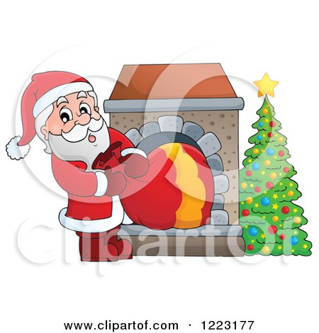 Clipart of Santa Claus Pulling a Sack Through a Fireplace - Royalty Free Vector Illustration by visekart