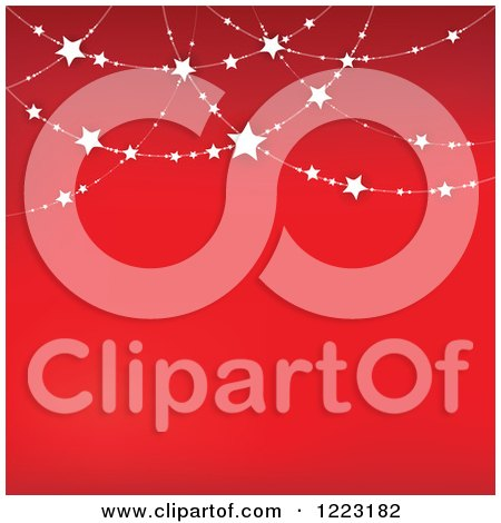 Clipart of a Red Background with Suspended Stars - Royalty Free Vector Illustration by visekart