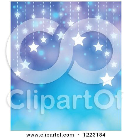 Clipart of a Blue and Purple Background with Suspended Stars and Bokeh Flares - Royalty Free Vector Illustration by visekart