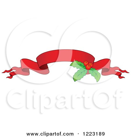 Clipart of a Red Christmas Ribbon Banner with Holly 3 - Royalty Free Vector Illustration by visekart