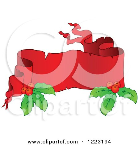 Clipart of a Red Christmas Parchment Banner with Holly 2 - Royalty Free Vector Illustration by visekart