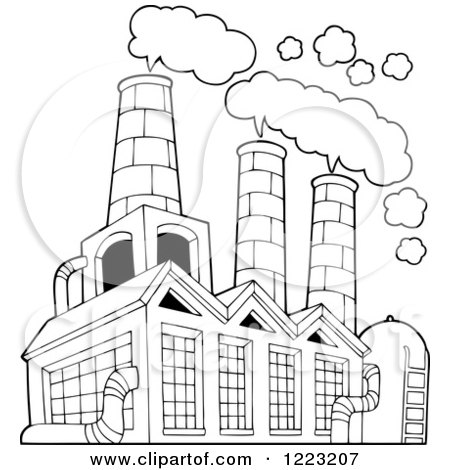 Clipart Of A Factory Building Polluting The Air Royalty
