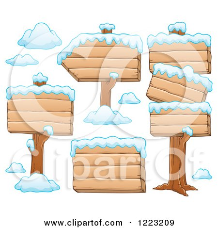 Clipart of Wooden Winter Signs with Snow - Royalty Free Vector Illustration by visekart