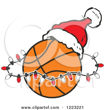 Clipart of a Basketball with Red and Green Christmas ...