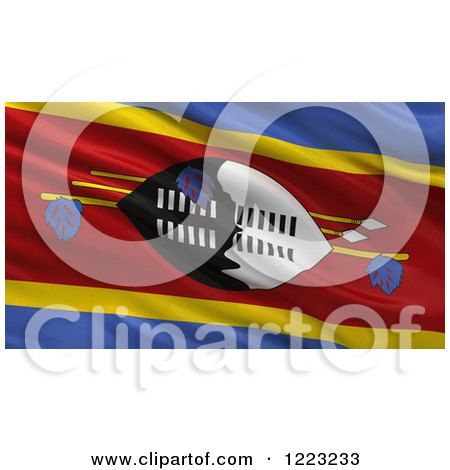 Clipart of a 3d Waving Flag of Swaziland with Rippled Fabric - Royalty Free Illustration by stockillustrations