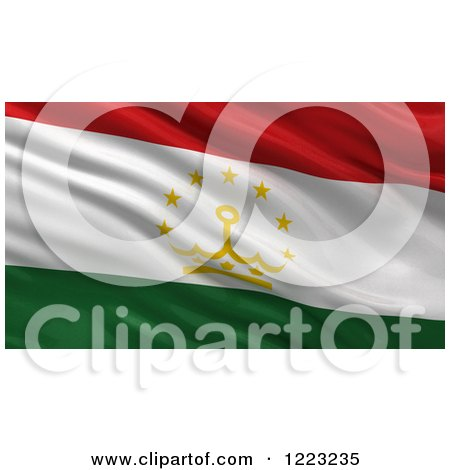 Clipart of a 3d Waving Flag of Tajikistan with Rippled Fabric - Royalty Free Illustration by stockillustrations