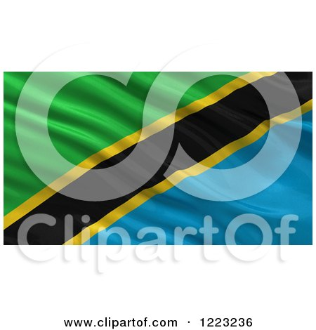 Clipart of a 3d Waving Flag of Tanzania with Rippled Fabric - Royalty Free Illustration by stockillustrations