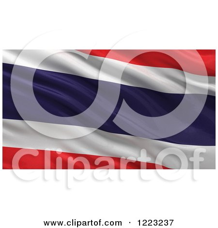 Clipart of a 3d Waving Flag of Thailand with Rippled Fabric - Royalty Free Illustration by stockillustrations