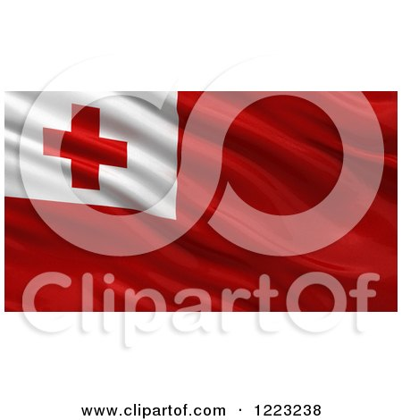 Clipart of a 3d Waving Flag of Tonga with Rippled Fabric - Royalty Free Illustration by stockillustrations